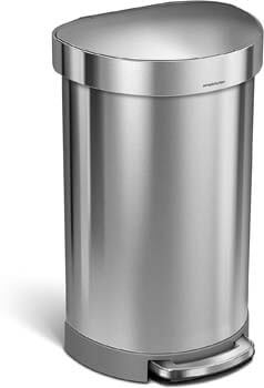 6. simplehuman 45 Liter/ 12 Gallon Semi-Round Step, Brushed Stainless Steel Hands-Free Trash Can
