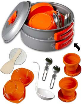 3. gear4U Camping Cookware Kits - BPA-Free Non-Stick Anodized Aluminum Mess Kits