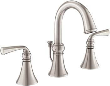10. Moen WS84855SRN Wetherly Two-Handle Widespread Bathroom Faucet with Valve Included, Spot Resist Brushed Nickel