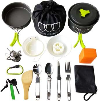 9. Gold Armour 17 Pieces Camping Cookware Mess Kit Backpacking Gear and Hiking Outdoors Bug out Bag Cooking Equipment Cookset