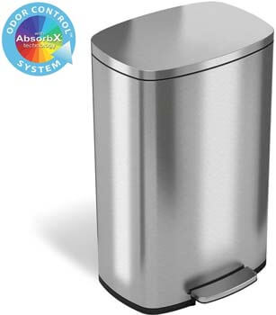 2. iTouchless SoftStep 13.2 Gallon Stainless Steel Step Trash Can