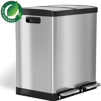 10. iTouchless 16 Gallon Dual Step Trash Can & Recycle, Stainless Steel Lid and Bin Body