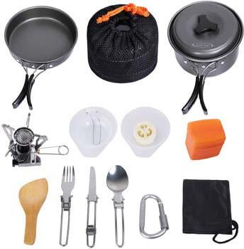 10. G4Free Camping Cookware Mess Kit 4/13 Piece Hiking Backpacking Picnic Cooking Bowl Non-stick Pot Pan Knife Spoon Set