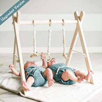 8. funny supply Wooden Baby Gym with 3 Gym Toys Foldable Baby Play Gym Frame Activity Center Hanging Bar Newborn Gift