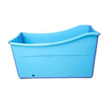 8. Weylan tec Large Foldable Bath Tub Bathtub for Baby Toddler Children Twins Petite Adult Blue