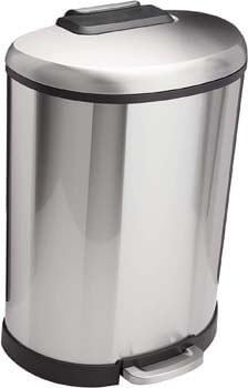 8. AmazonBasics D-Shaped Soft-Close Trash Can
