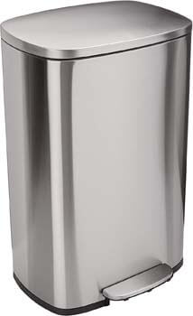 1. AmazonBasics Rectangle Soft-Close Trash Can - 50L, Satin Nickel