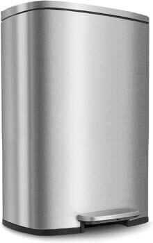 7. HEMBOR 13.2 Gallon (50L) Trash Can, Stainless Steel Rectangular Garbage Bin