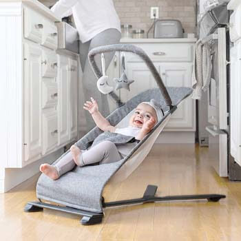 5. Baby Delight Go With Me Alpine Deluxe Portable Bouncer, Charcoal Tweed