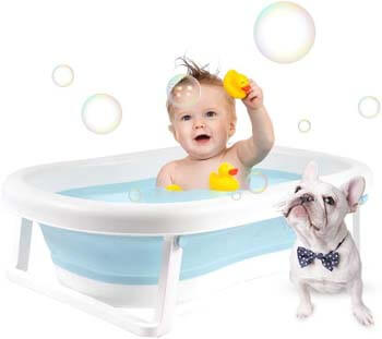 10. La fete Baby Bathtub, Portable Foldable Shower Bed, Infant Bath Tub