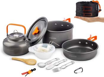 6. Overmont 1.95 Liter (Pot+ Kettle) Camping Cookware Set Campfire Kettle Outdoor Cooking Mess Kit