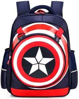 9. Kids Backpack, Captain America Waterproof Comic School Bag for Boys (Dark Blue)