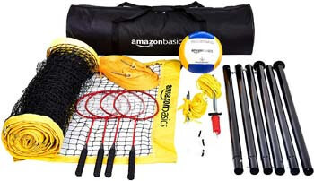 9. AmazonBasics Outdoor Volleyball and Badminton Combo Set With Net