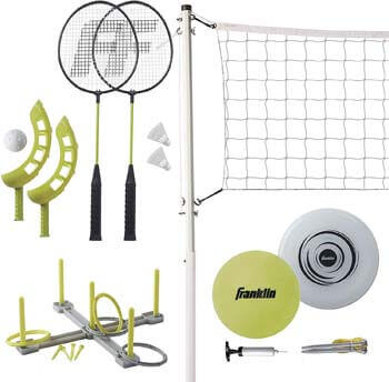 8. Franklin Sports Fun 5 Combo Set - Badminton, Volleyball