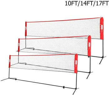 7. VIVOHOME Portable Height Adjustable Outdoor Badminton Net Set