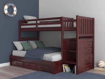 4. Mission Twin Over Full Staircase Bunk Bed with 3 Drawers in Merlot Finish