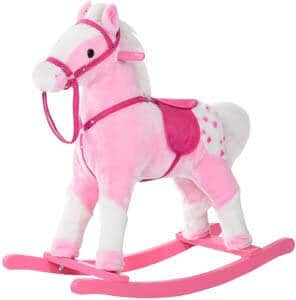 7. Qaba Kids Plush Toy Rocking Horse Pony with Realistic Sounds – Pink