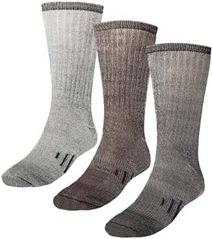 9. DG Hill 3 Pairs 80% Merino Wool Thermal Crew Men's Wool Socks