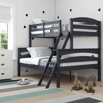 3. Dorel Living Brady Solid Wood Bunk Beds with Ladder and Guard Rail, Twin Over Full