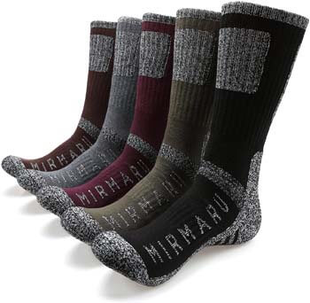 2. MIRMARU Men's 5 Pairs Multi Performance Outdoor Sports Hiking Trekking Crew Socks