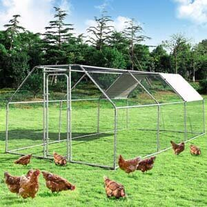 1. Giantex Large Metal Chicken Coop Walk-in Chicken Coops Hen Run House Shade Cage