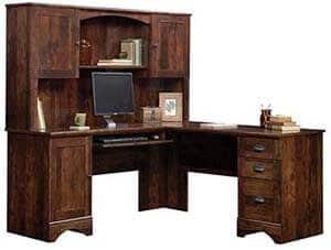 6. Sauder Harbor View Corner Computer Desk with Hutch in Curado Cherry