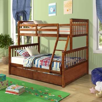 6. Knocbel Solid Wood Bunk Bed Twin-Over-Full with Ladders, Guard Rail & 2 Storage Drawers