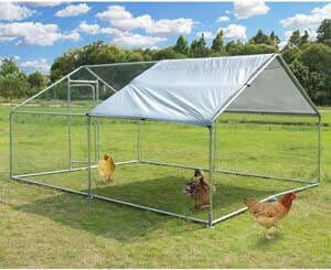 8. Large Metal Chicken Coop Walk-in Poultry Cage