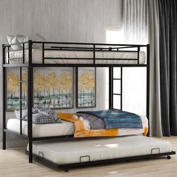 1. Twin Over Twin Metal Bunk Bed with Trundle, Rockjame Space Saving Design Sleeping Bedroom Bed Frame with 2 Ladders and Safety Rail