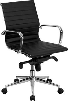 9. Flash Furniture Mid-Back Black Ribbed LeatherSoft Swivel Conference Office Chair