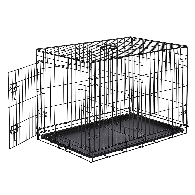 10. AmazonBasics Single-Door & Double-Door Folding Metal Dog or Pet Crate Kennel with Tray