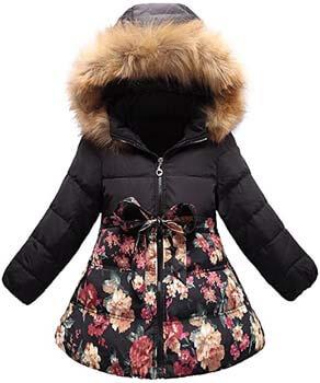 4. SS&CC Girls' Long Flower Printing Bowknot Winter Hooded Down Jacket