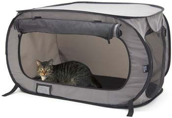 7. SportPet Designs Large Pop Open Kennel, Portable Cat Cage Kennel, Waterproof Pet bed, Carrier Collection