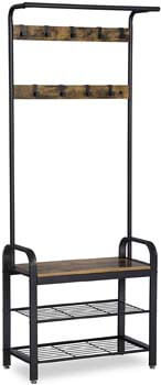 1. VASAGLE DAINTREE Coat Rack, Shoe Bench, Industrial Accent Furniture with Steel Frame