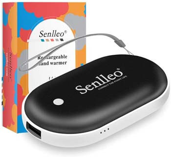 9. Senlleo Rechargeable Hand Warmer, 5200mAh PowerBank : Larger Capacity and Double-Sided Pocket Warmer Compatible with iPad iPhone Samsung All Android Smartphone, Winter Gift for Men Women