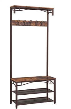 2. VASAGLE Industrial Coat Rack, 3-in-1 Hall Tree, Entryway Shoe Bench Coat Stand