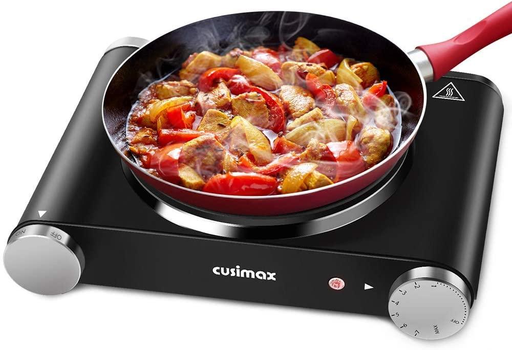 1. Cusimax Hot Plate, Portable Electric Stove Countertop 1500W - Single Burner