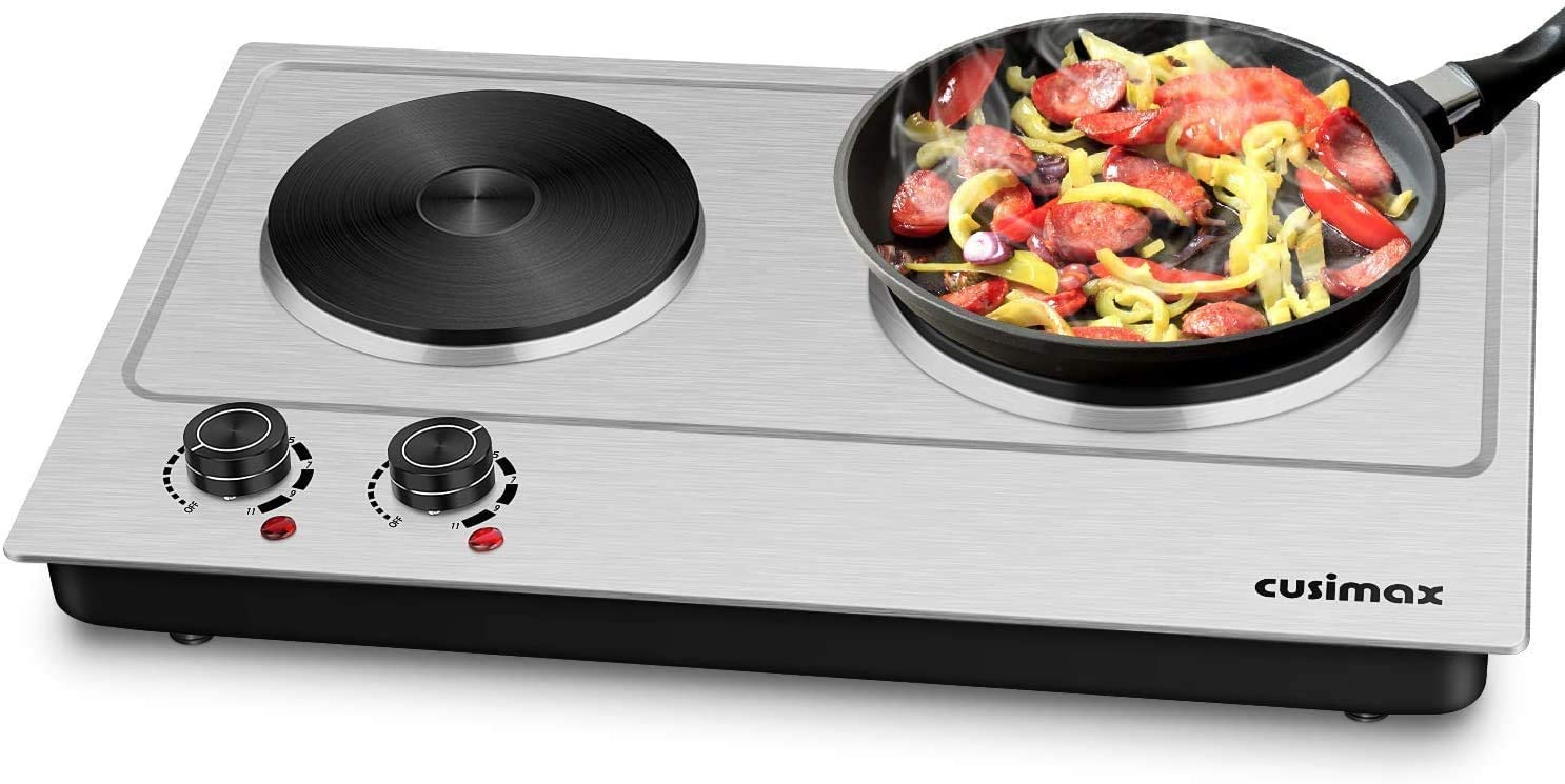 9. Cusimax Hot Plate - Electric Double Burner Stove