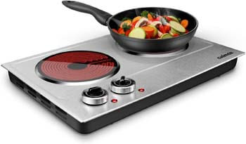 3. CUSIMAX Ceramic Electric Hot Plate for Cooking - Dual Control Infrared Cooktop
