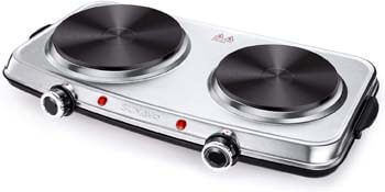 8. SUNAVO Hot Plates for Cooking - 1800W Electric Double Burner with Handles