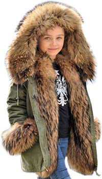 7. Aofur Kids Unisex Coat Winter Black Jacket Faux Fur Parka Casual Hooded Warm Trench Outwear Children Clothes for Girls Boys