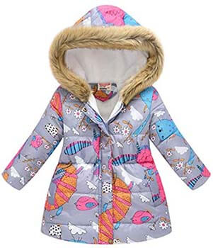 3. Miss Bei Girl's Coat Hooded Kids Winter Flower Print Parka Outwear Warm Cotton Jacket(The Large Size has Arrived)