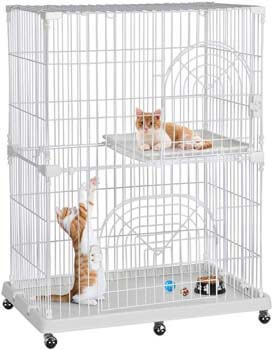 5. Yaheetech 2/3 Tier Large Wire Pet Cat Kitten Kitty Cage Condo Crate Playpen Enclosure on Wheels with Shelves Indoor Outdoor
