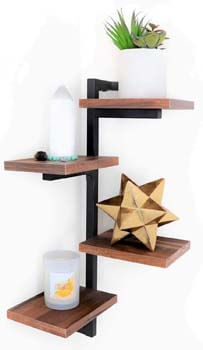 8. Under.Stated Wall Mounted Corner Shelf - Rustic MDF Display Shelf with Four Arms | Metal Bracket Floating Shelves