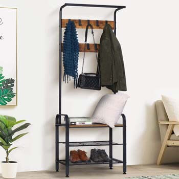 10. KINGSO Hall Tree 9 Hooks, Industrial Coat Rack Shoe Bench