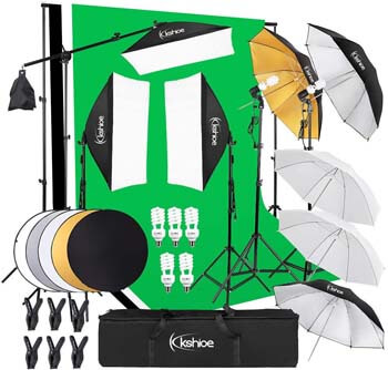 7. Kshioe Photography Lighting Kit: 6.5x10feet/2x3m Backdrops Stand Support System