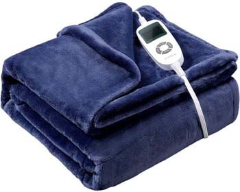 7. Vipex Heated Blanket, Flannel Electric Heated Blanket Throw with 10 Heating Levels & Auto-Off Timer Settings